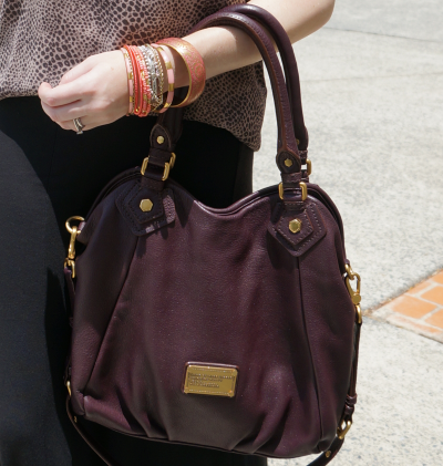 away from the blue marc by marc jacobs carob brown fran bag worn on arm