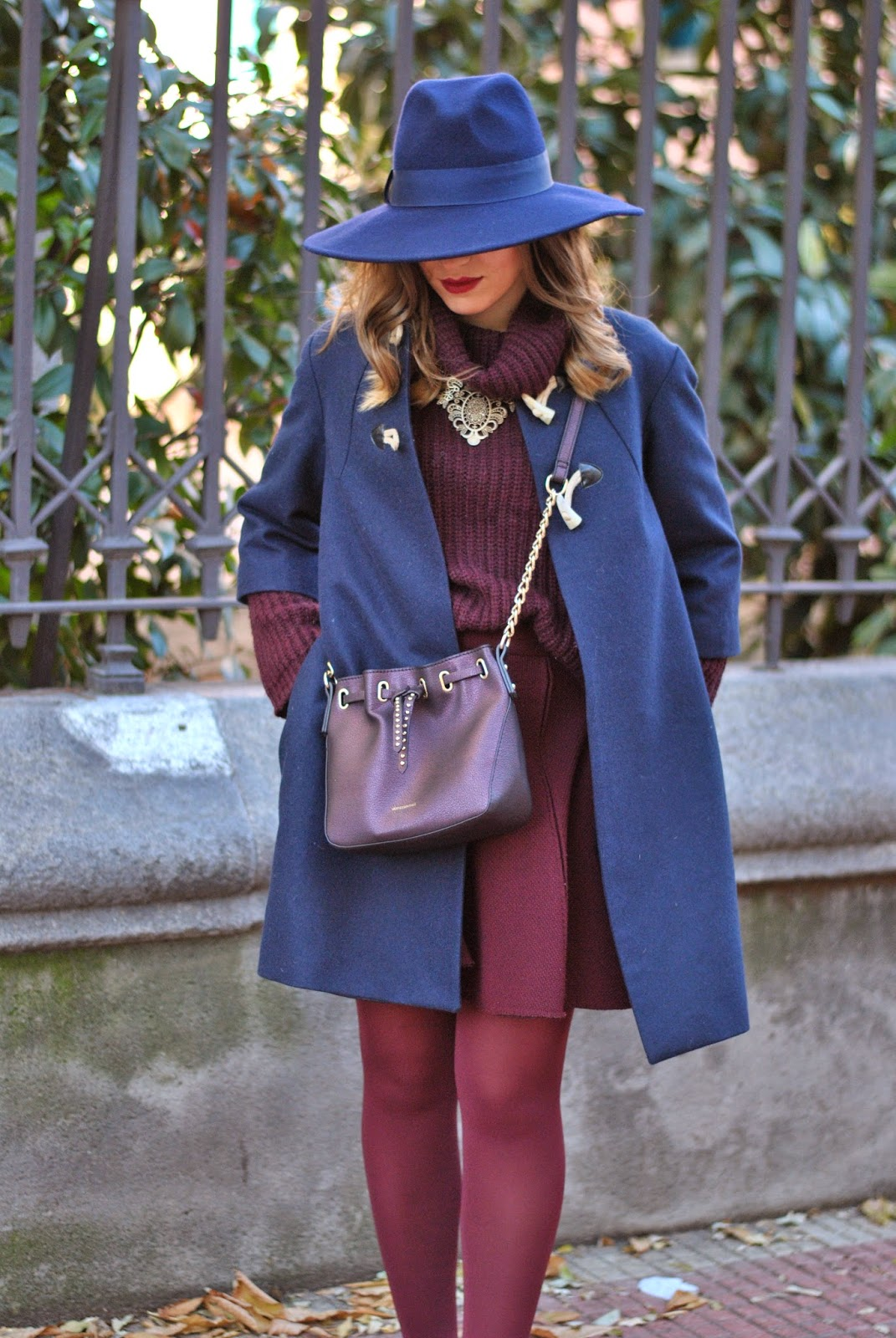 Burgundy and Blue