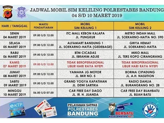 Jadwal SIM Keliling Polrestabes Bandung Bulan Maret 2019