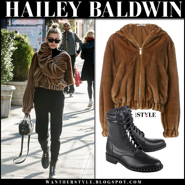 bdd254701519 Hailey Baldwin in brown faux fur bomber jacket helmut land and black ankle  boots off-