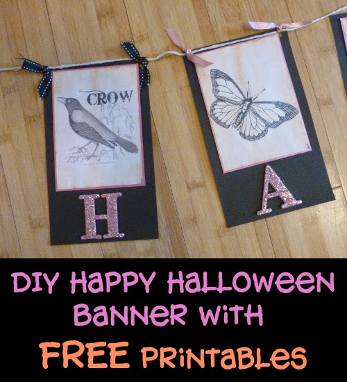 Crow and Butterfly Pennant Flag Sections from a DIY Handmade Banner