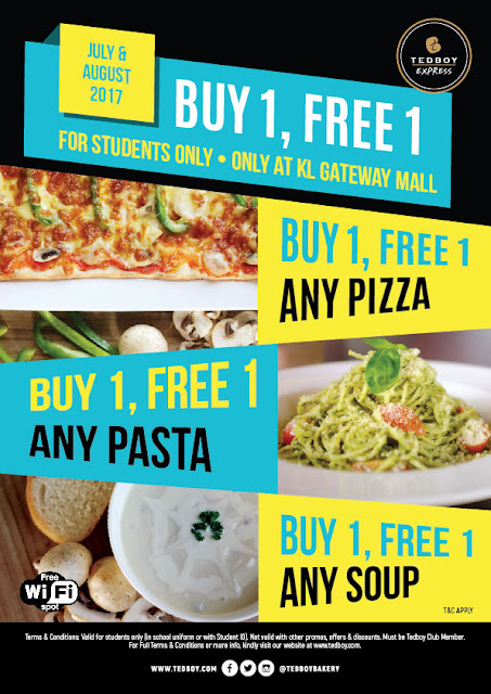 Tedboy Bakery Buy 1 Free 1 Pizza Pasta Soup Student Promo