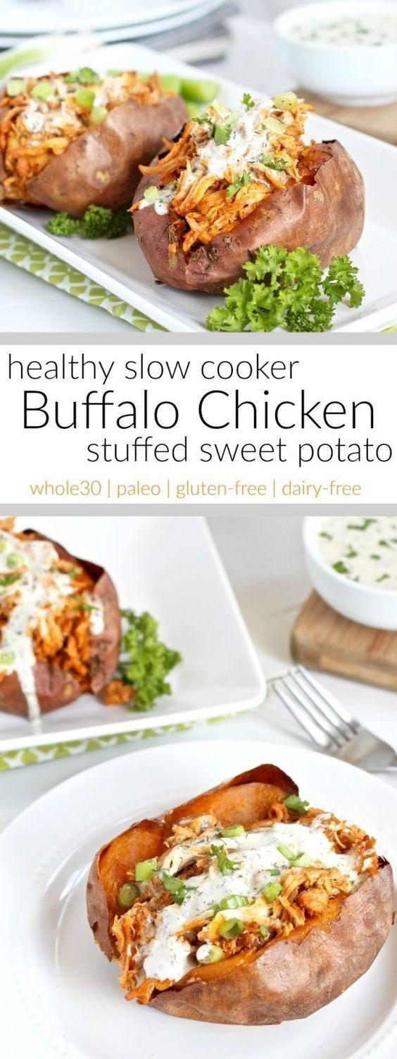 Slow Cooker Buffalo Chicken Stuffed Sweet Potato