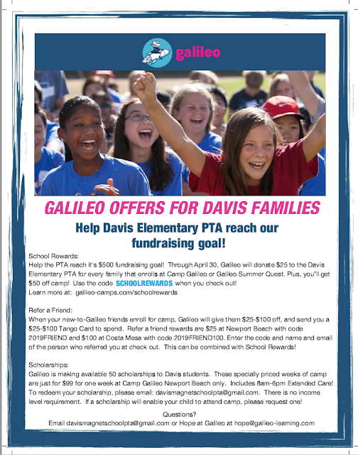Camp Galileo Fundraiser | Davis Magnet School PTA
