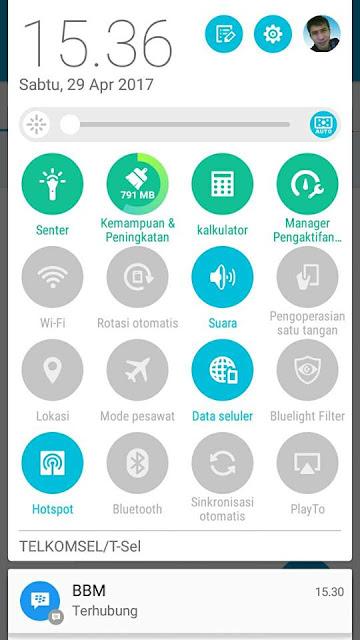 gambar cara aktifkan data seluler dan hostspot di ponsel android