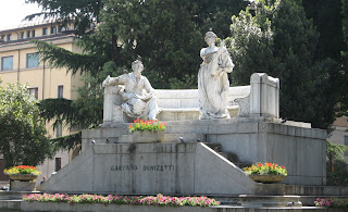 A monument to Gaetano Donizetti in Bergamo's lower town