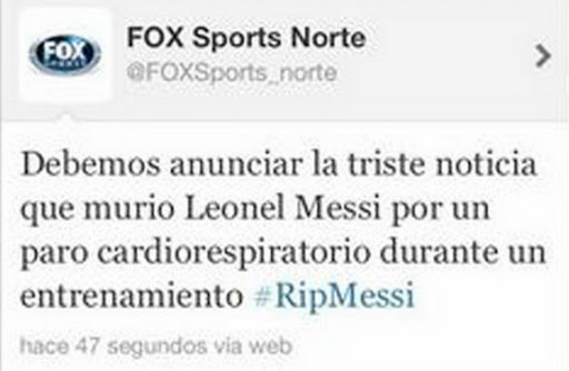 A screenshot of FOX Sports mistakenly announcing the death of Lionel Messi on Twitter