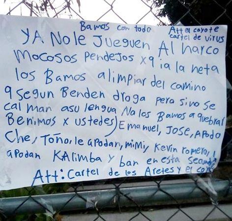 """""""No le jueguen al narco, mocosos pendej..os sicarios les dejan narcomanta con amenaza a estudiantes que vendían droga en Telesecundaria en Morelos"""