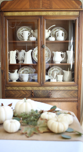 fall home tour china cabinet hutch white ironstone brown transferware
