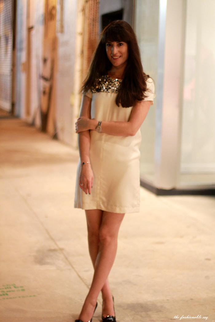 white silk shift dress