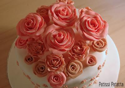 cake design, gumpaste, pâte à sucre, gâteau anniversaire, gâteau romantique, modeling flowers, roses en gumpaste, flowers cake, patissi-patatta