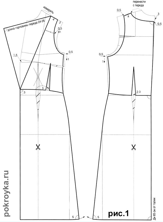 Выкройка платья с римскими складками (радиальной драпировкой)
