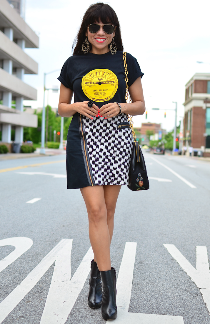 Houndstooth Skirt Street Style