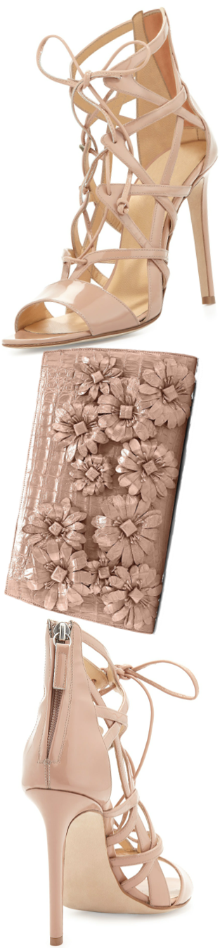 Nancy Gonzalez Slicer Flower-Applique Crocodile Clutch