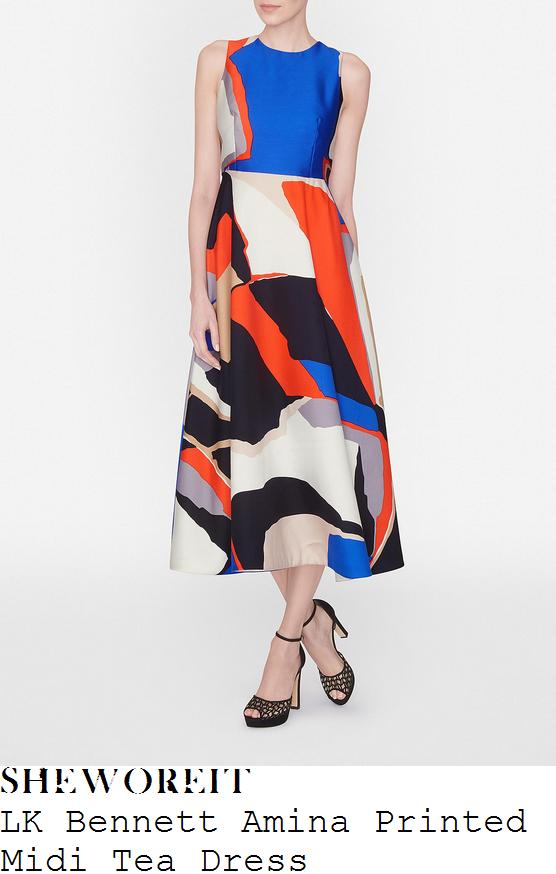 amanda-holden-lk-bennett-amina-blue-orange-black-cream-printed-midi-tea-dress