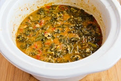 Slow Cooker Vegetarian Cannellini Bean and Kale Soup with Shaved Parmesan found on KalynsKitchen.com.