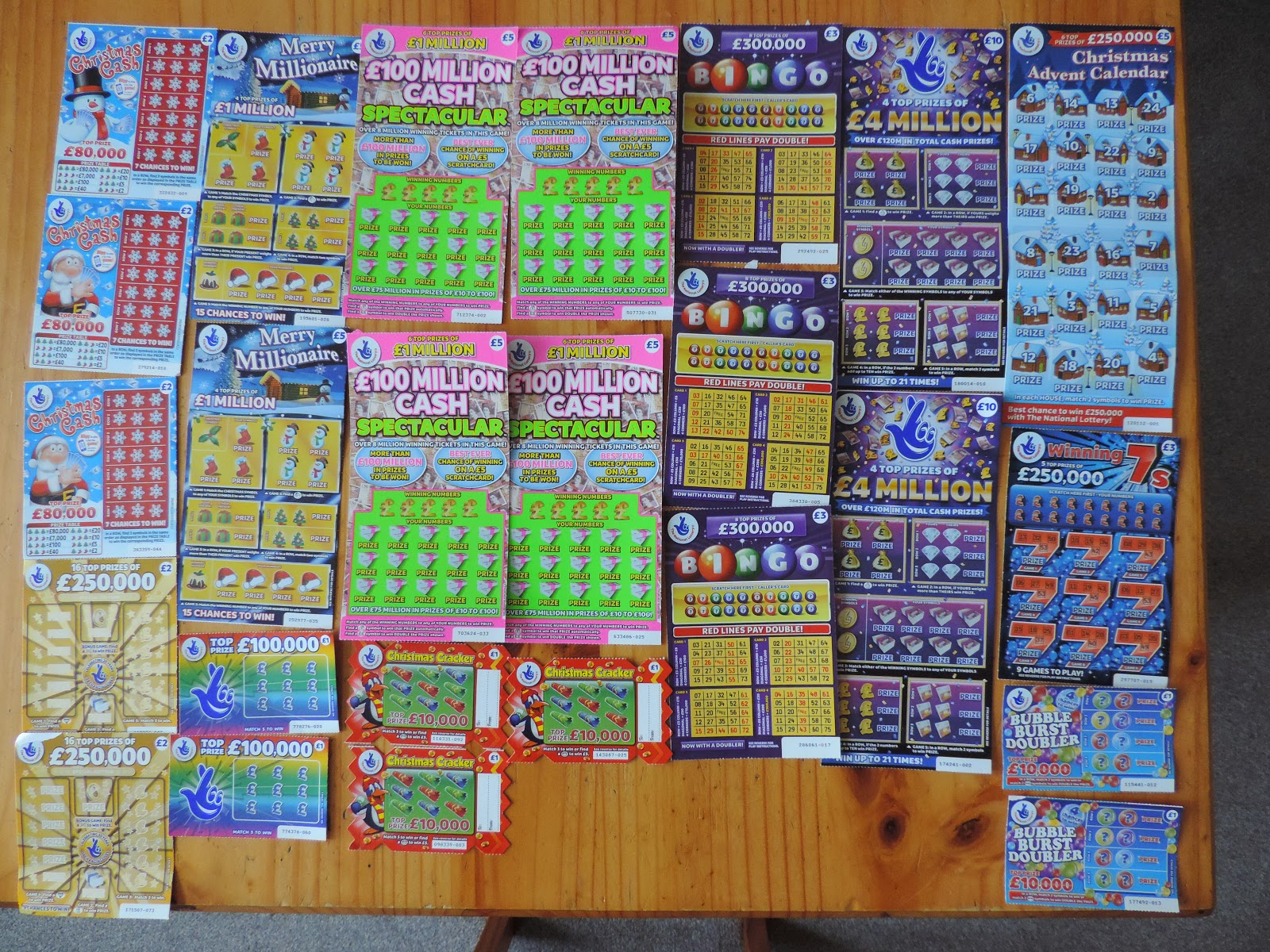 £84 worth of scratchcards for Xmas