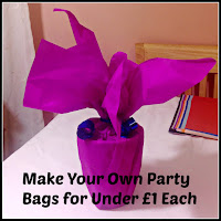 Finished party bag with title overlaid