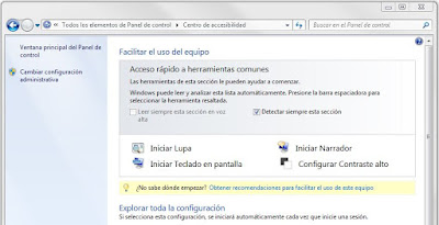 Centro de accesibilidad de Windows 7