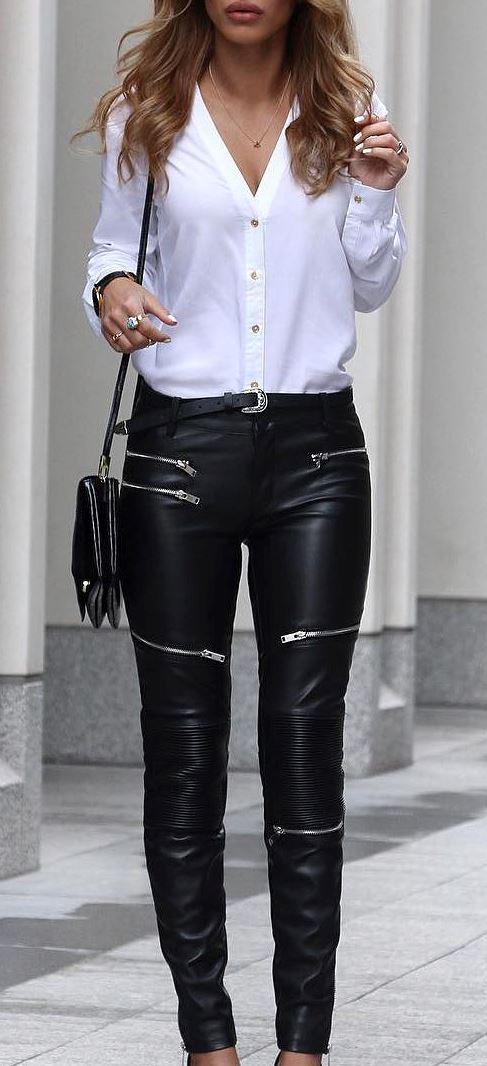 beautiful office outfit: shirt + leather pants + bag
