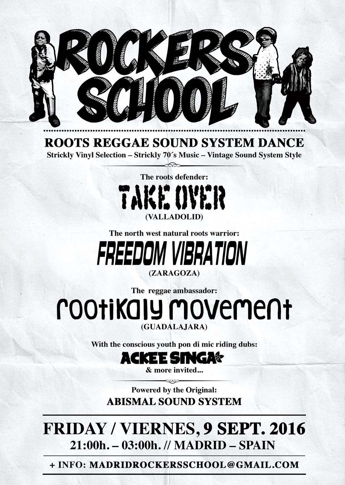 Viernes 9 Septiembre - ROCKERS SCHOOL - TAKE OVER - FREEDOM VIBRATION - ROOTIKALY MOVEMENT - ACKEE SINGA 13918684_10154455040528130_537788131_o