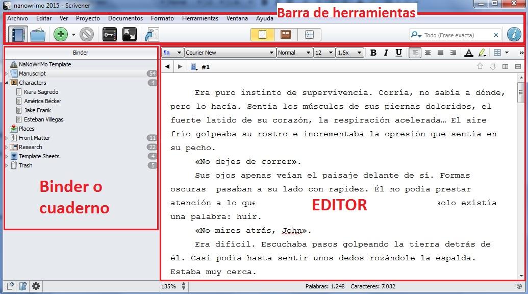 interfaz scrivener