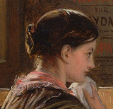 "Detail of a girl's Hair from Solomon's ""Second Class- The Parting"" (1855)"