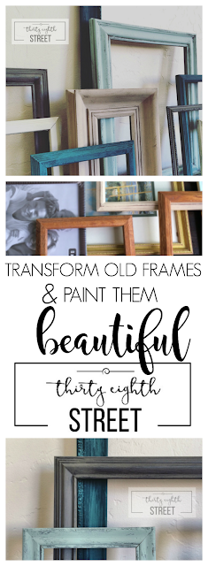 recycled picture frames, painted picture frames, diy frames, refinished picture frames, picture frame makeover, picture frame ideas, gallery wall ideas and inspiration