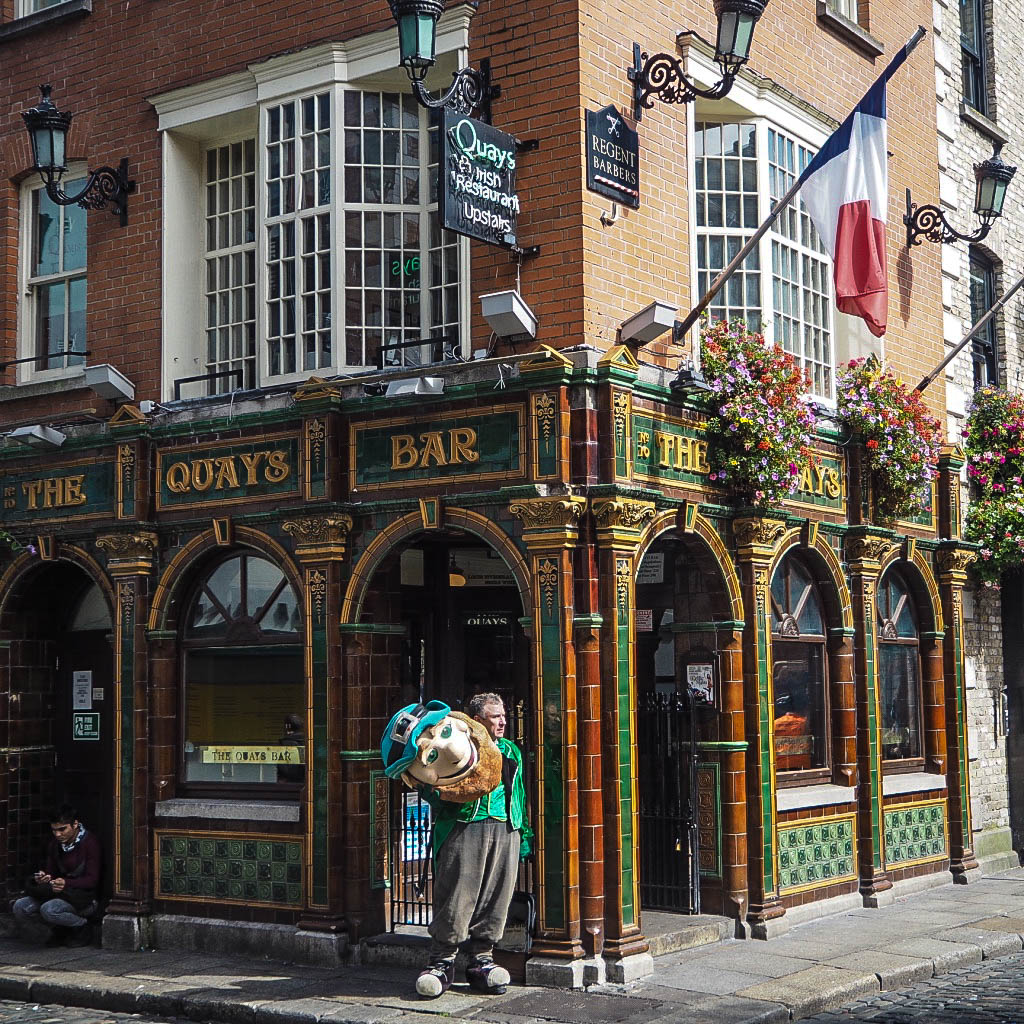The Quays Bar, Dublin with a leprechaun stood outside