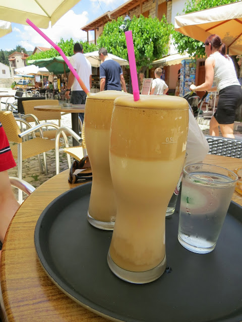 Cyprus Road Trip: Giant frappe in Omodos wine village