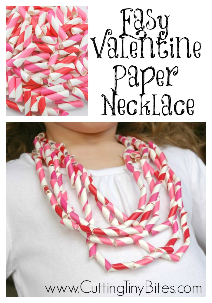 Easy Valentine Paper Necklace Craft for Kids- These bright, colorful necklaces are the perfect easy kids' project for Valentine's Day! They're simple enough for toddlers, fun enough for preschoolers, and cool enough for big kids.