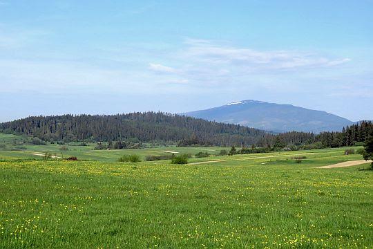 Przełęcz Bory. Widok na Madejową i Babią Górę.