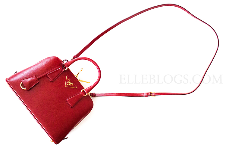 prada saffiano vernice promenade crossbody bag red