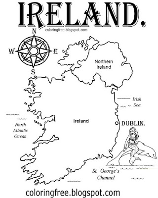 Easy stuff to colour Irish printable pictures sea coastal map of Ireland colouring page for children