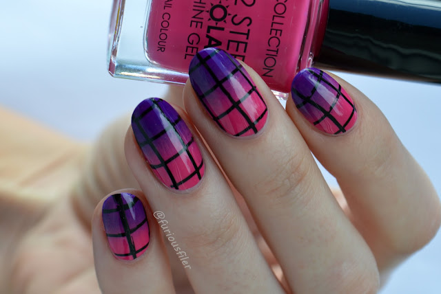 gradient bright checkered grid geometric nails summery