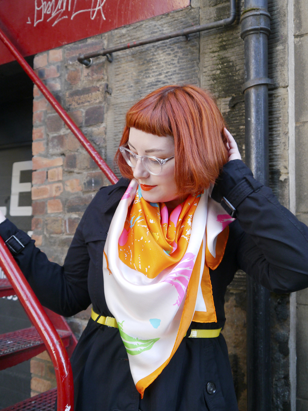 Charcot, MS Awareness Week, MS inspired jewellery, Scottish Blogger, red head, red bob, micro frine, ginger hair, Scottish Street Style, Scottish designer, skull necklace, neon necklaces, neon jewellery, colourful scarf, silk scarf, Sun Jellies, Taisir Gibreel, Iolla, seewithiolla, charity shop, Edinburgh street style, colourful outfit, summer style, bright outfit
