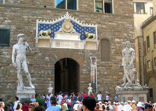 Michelangelo's David (left) and Bartolommeo Bandinelli's Hercules and Cacus in Florence's Piazza della Signoria