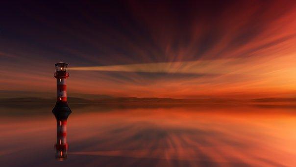 Faro iluminando el infinito en un cielo rojizo oscuro. Existe el alma.