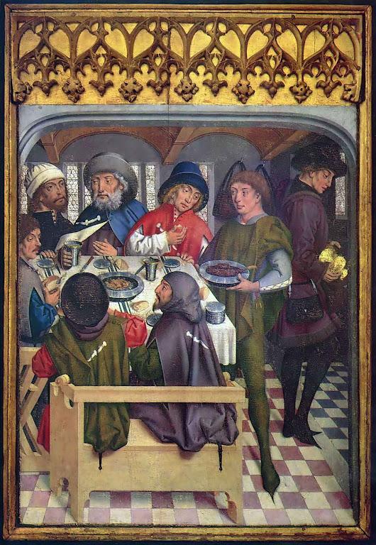 Peregrinos rumo a Compostela sentados na mesa de uma taverna da estrada