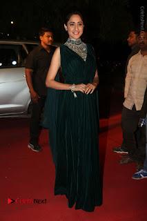 Actress Pragya Jaiswal Stills in Green Long Dress at Gemini TV Puraskaralu 2016 Event  0080.JPG