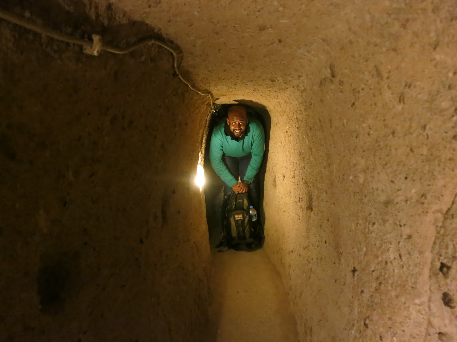 At Derinkuyu underground city, Cappadocia, Turkey