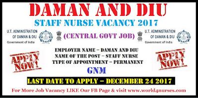 Daman and Diu 52 Staff Nurse Vacancy 2017 (central govt job)
