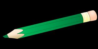 matita di colore verde con gomma