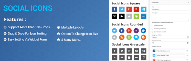 best wordpress plugin for social sharing is social icon which is also an essential wordpress plugin
