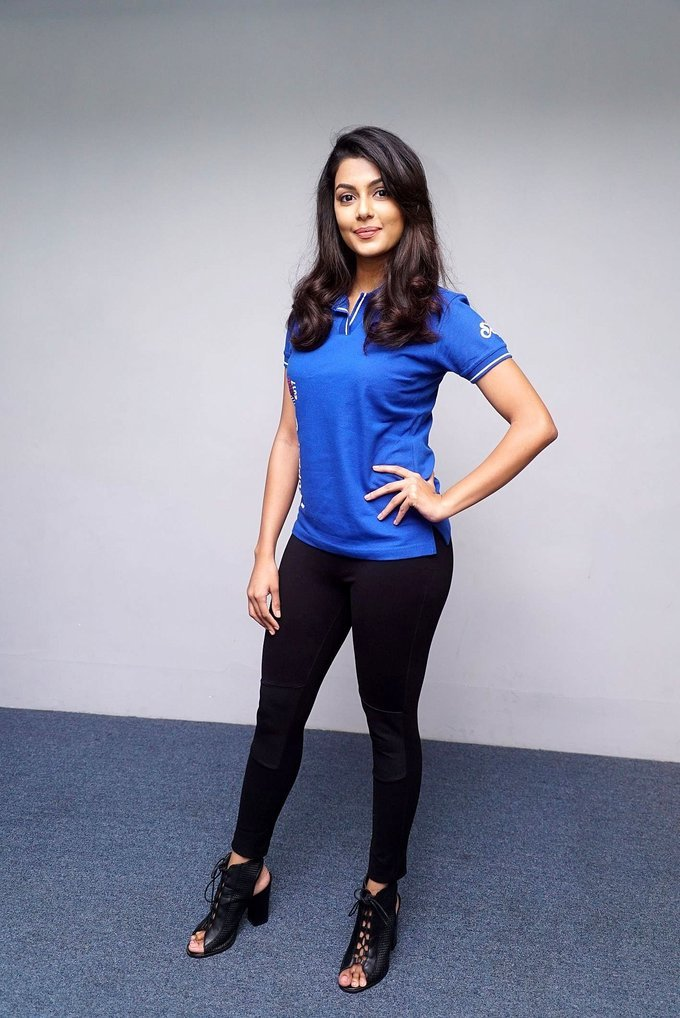 Telugu Actress Anisha Ambrose Long Hair In Blue Shirt Jeans