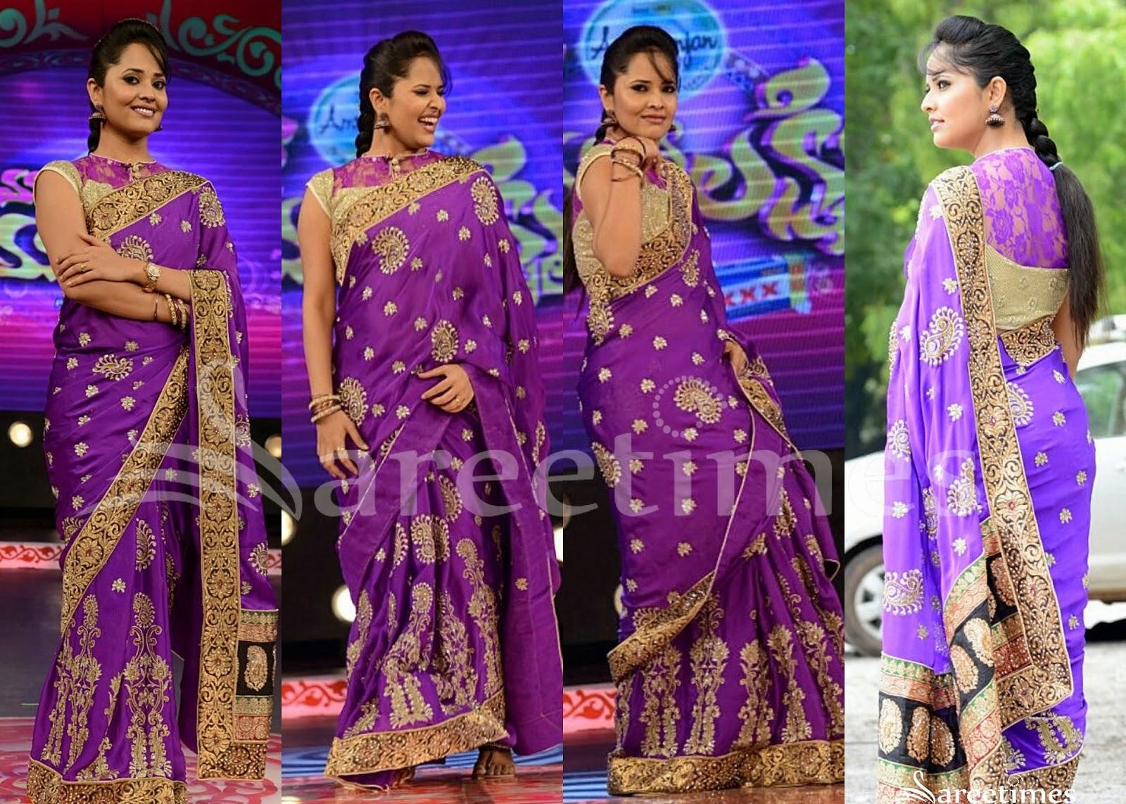 27046b476b Telugu Tv Anchor Anasuya Backless Saree – Fondos de Pantalla