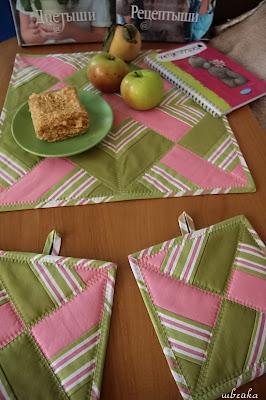 прихватки и салфетка яблочные