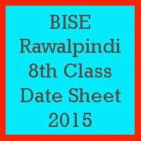 8th Class Date Sheet 2018 BISE Rawalpindi Board