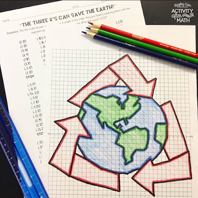 Earth Day Recycling Coordinate Graphing Mystery Picture!