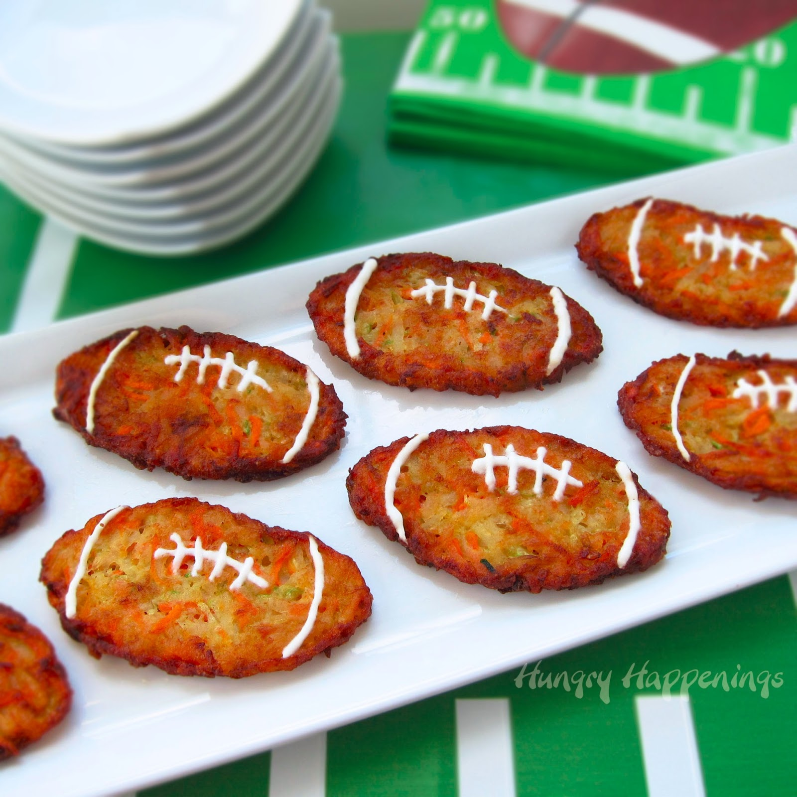 Football Shaped Zucchini Fritters Super Bowl Tailgating Party Food